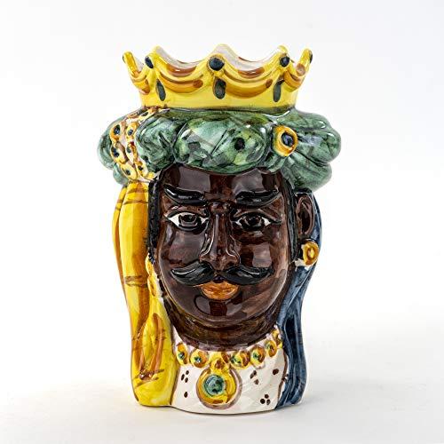 Ceramiche Azzaro & Romano Caltagirone Sizilianischer Stierkopf, dekoriert, Höhe 17 cm, handgefertigt