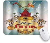 ゲームマウスパッドカスタム、マジックサーカステントショーのお知らせビンテージスタイルのエアリアリストアクロバット、オフィスパーソナライズされたデザイン滑り止めラバーマウスパッド9.5 X 7.9インチ