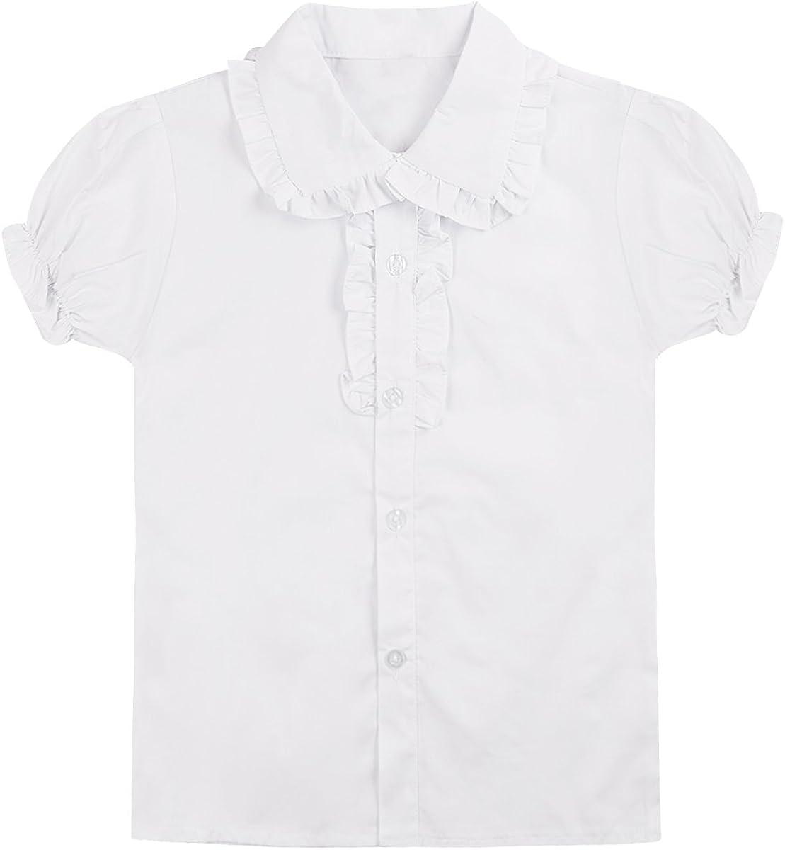 Award-winning store Haitryli Kids Girls Jacksonville Mall Puff Sleeve Blous Collar Button-Down Ruffled