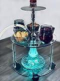 ADAL Premium Shisha Tisch | Komplett Set inkl. LED Untersetzer + Werkzeuge | Praktisch für Zuhause & Unterwegs | Acryl - Transparent