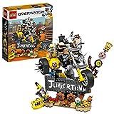 LEGO Overwatch - Junkrat y Roadhog, Set de Construcción inspirado en el videojuego, Figura de acción, Incluye moto Chopper y cartel de Junkertown (75977)