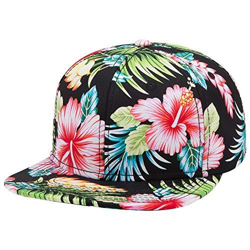 Armycrew Hawaiian Tropical Floral Pattern Square Flat Bill Snapback Cap - Design1