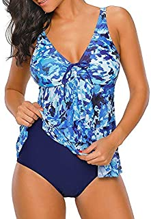 LOSRLY Womens Camo Printed Tummy Control One Piece Swimwear V Neck Front Ruched Ruffle Patchwork Plus Size Swimsuits Color-5 XXL [並行輸入品]