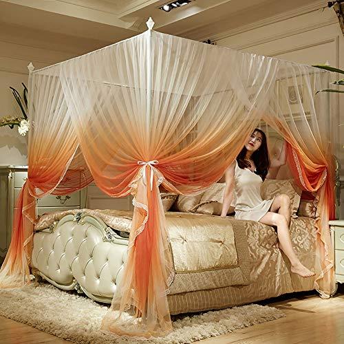 LINLIN Bed luifel Driedeurs Vloer staande Muggennetje Verhoogde Mesh RVS Buis 360 ° Pest Controle Netto Tent Indoor Decoratie (gradiënt Kleur)