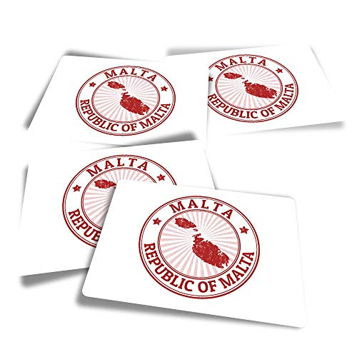 Vinyl Rectangle Stickers (Set of 4) - Republic of Malta Map Sign Fun Decals for Laptops,Tablets,Luggage,Scrap Booking,Fridges #4713