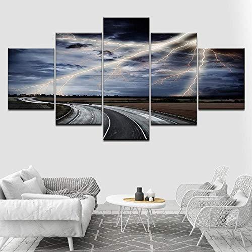 Gxucoa 5 Piezas Lienzo Poster Cuadro De Carreteras Y Relámpagos HD Arte De La Pared Impresa Decoración Dormitorio El Hogar Pintura De La Lona Foto