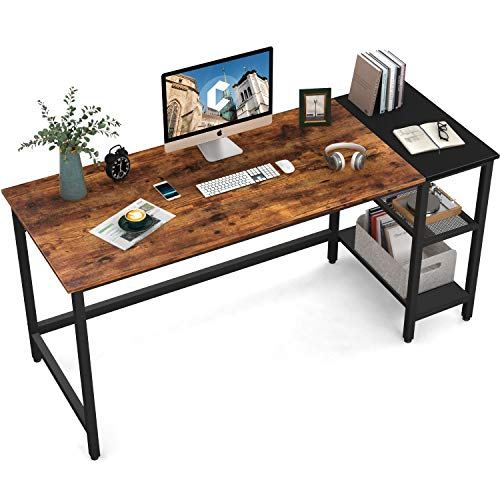 CubiCubi Computer Home Office Desk, 63 Inch Small Desk Study Writing Table with Storage Shelves, Modern Simple PC Desk with Splice Board, Brown/Black
