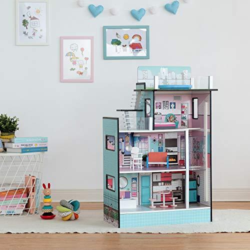 Teamson Kids 'Barcelona' Casa delle Bambole Blu Y Mobili per Bambini TD-13111D
