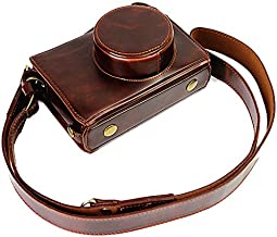 Full Protection Bottom Opening Version Protective PU Leather Camera Case Bag with Tripod Design Compatible for Fuji Fujifilm x100 x100s x100m x100t with Shoulder Neck Strap Belt Dark Brown