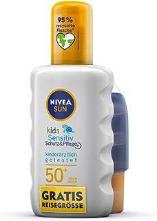 NIVEA SUN Kids Sensitive Zonnespray met beschermingsfactor 50+, inclusief gratis reisformaat (200 ml + 50 ml), watervaste ...
