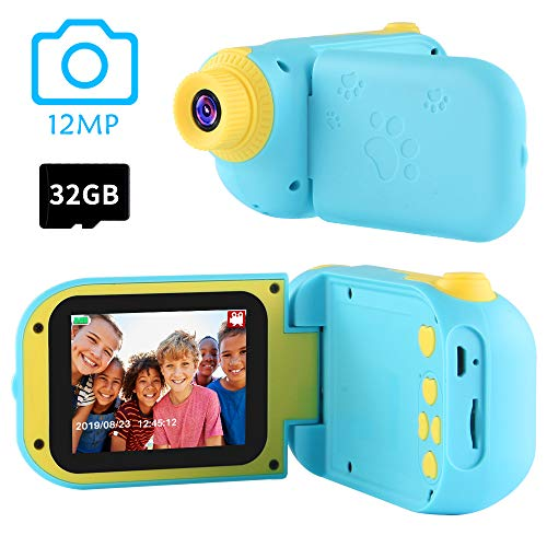 Best Gifts for Boys Age 3-10,OMWay Christmas Kids Digital Camera for Boys, Toys for Boys 4 5 6 7 8 Year Old, 12MP HD Camcorders,Dark Blue(32GB SD Card Included).