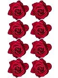 Outus 8 Piezas Pinzas de Pelo de Flor Rosa Clips de Pelo de Flor Hebillas de Pelo de Flor, Rojo