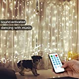 String Lights Curtain,USB Powered Fairy Curtain Lights for Party Wall Decorations,Sound Activated Function Can Sync with Any Voice (White,7.9Ft x 5.9Ft)