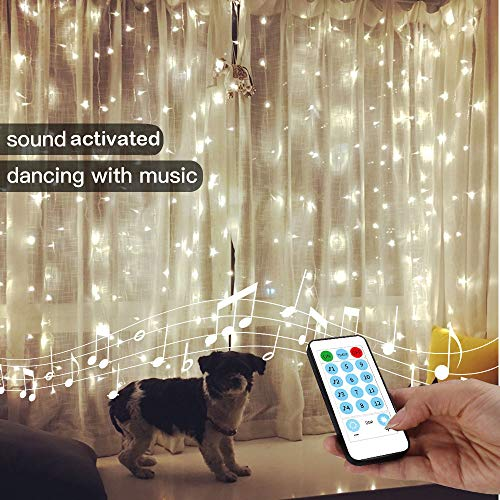 String Lights Curtain,USB Powered Fairy Lights for Bedroom Wall Halloween Christmas Decorations,Sound Activated Function Can Sync with Any Voice (Cool White,7.9Ft x 5.9Ft)