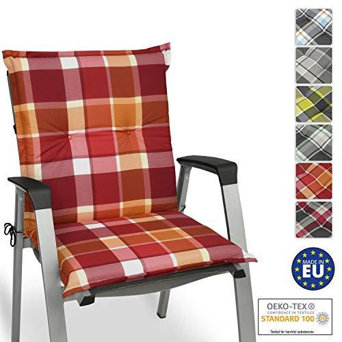 Beautissu Sunny RO Niedriglehner Auflage für Gartenstuhl 100x50 cm in Rot Kariert - Bequemes Sitzkissen Polsterauflage UV-Lichtecht - weitere Designs erhältlich
