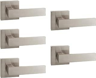 5 Pack Probrico Square Interior Door Lever Door Knob Door Handle Lock Half Dummy Keyless Door knobs Door Satin Nickel