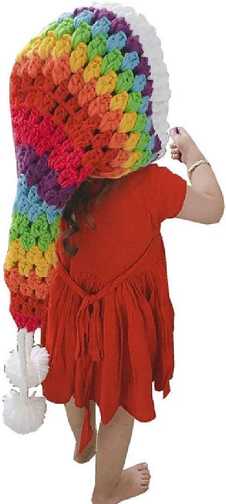 Quenny Children's elf hat,New Rainbow hat,Girls' Autumn and Winter tie-dye Woolen Crochet Long Tail hat.