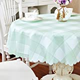 Yafe 53 Inch Round Vinyl Tablecloth,Waterproof,Oilproof,Wipeable,Heavy Duty,Stain-Resistant Round Plastic Table Cloth (Green)