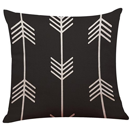 Woaills Throw Pillow Case, Black White Soft Linen Throw Cushion Cover 18 x 18 (N)