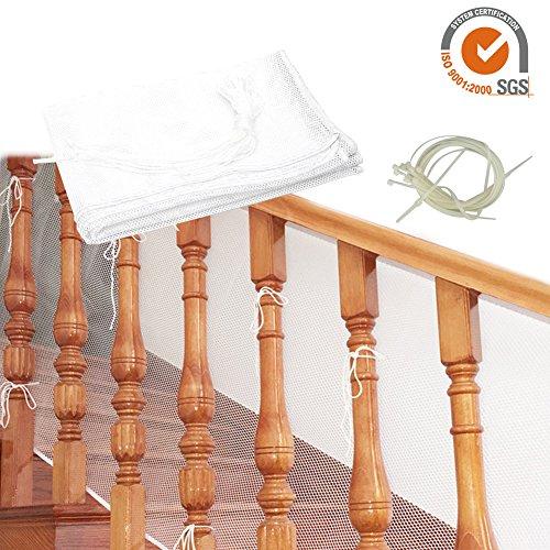Luerme Baby-Fallschutznetz, Kinder-Sicherheitsnetz, 3 Meter, für Balkon, Treppengeländer, Zaun für Baby, Kleinkind, Kinder, Haustier, weiß