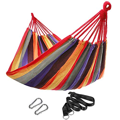 SONGMICS 210 x 150 cm Cotton Hammock Portable for Outdoor Camping Garden Sleeping Load 300 kg GDC210
