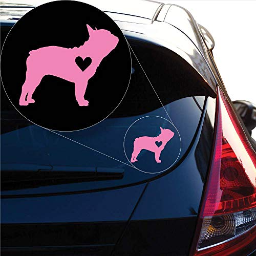 Yoonek Graphics Love French Bulldog Decal Sticker for Car Window, Laptop and More. # 1123 (4' x 4.8', Custom)