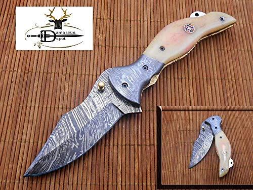 Damascus Steel Folding Knife, Trailing Point Blade Pocket Knife, Natural Camel Bone Scale, Leather Sheath Included
