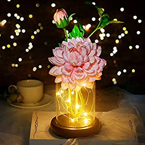 shirylzee Artificial Flowers with Vase Silk Dahlia Flower Arrangement with Led Light DIY Fake Flowers Glass Craft Art Decoration for Home Shop Wedding Party Centerpieces Birthday – Pink