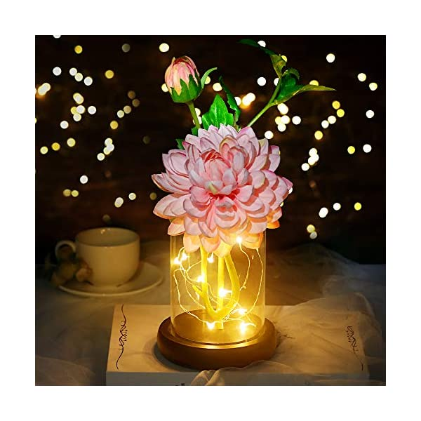 Efanty Florero con conjunto de flores artificiales,flores dalia seda regalo para ella Diy Flower Art Decor para Día de…