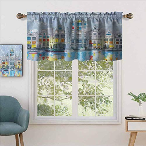 BCVHGD Blackout Curtain Valances, Short Rod Pocket Curtain Panels Noel Time at Amsterdam Canal with Historical Famous Buildings, Set of 2, 54'x24' for Kitchen Bathroom