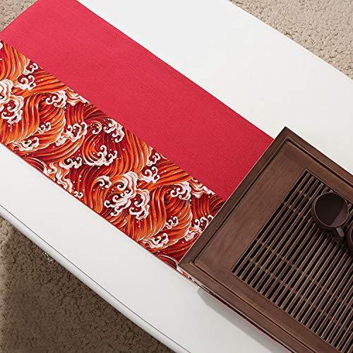 Caminos De Mesa,Camino De Mesa Con Estampado De Olas De Estilo Japonés Rojo Rectángulo Largo Mesa De Centro Antiincrustante Resistente Al Calor Mesa De Comedor Paño De La Cubierta Del Gabinete De T