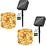 Solar String Lights Outdoor, 2 Pack 120 LED Solar Garden Lights Waterproof 12M/40Ft 8 Modes Indoor/Outdoor Fairy Lights Copper Wire Decorative Lighting for Patio, Yard, Party, Wedding (Warm White)