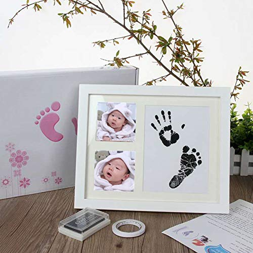 Baby Handabdruck und Fußabdruck Fotoalbum - 2 pcs Baby Fussabdruck Set Stempelkissen Ungiftig Inkless, Babyhaut Kommt Nicht mit Farbe in Berührung für Neugeborene 0-6 Monate