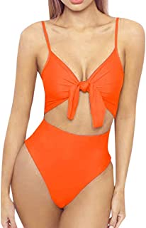 mililian Womens Spaghetti Strap Tie Knot Front Cutout High Cut One Piece Swimsuit
