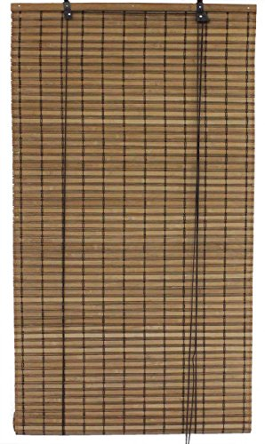 Seta Direct, Brown Bamboo Slat Roll Up Blind - 72-Inch Wide by...