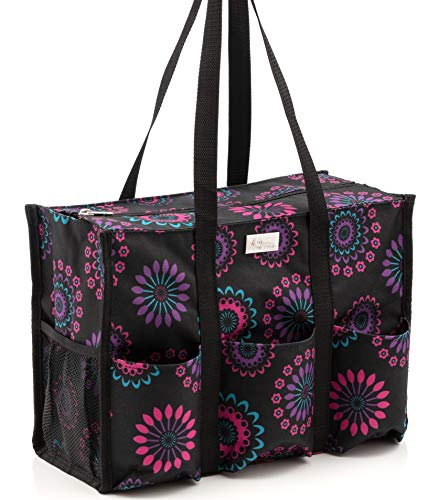 Pursetti Zip-Top Organizing Utility Tote Bag (Purple Circle_Large) with Multiple Exterior & Interior...