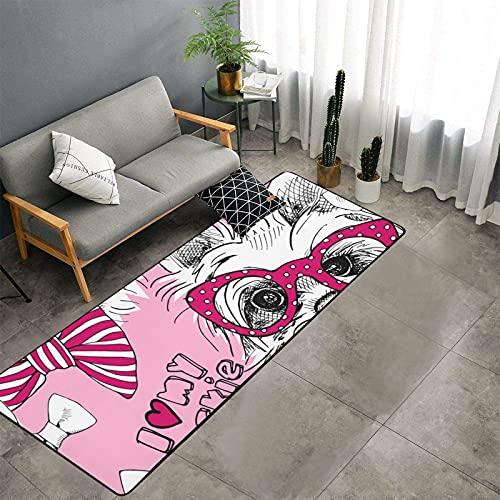 Un Perro York con Gafas, Corredor de Cocina, Alfombrillas para Dormir, sofá Antideslizante, Alfombra de Entrada, alfombras de Cocina Lavables para Fregadero de Piso