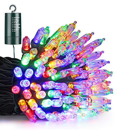 Joomer Battery Mini Christmas Lights, 33ft 100LED Battery Operated Mini Lights Waterproof with 8 Modes & Timer for Christmas Trees, Home, Garden, Party and Holiday Decoration (Multi-Color)
