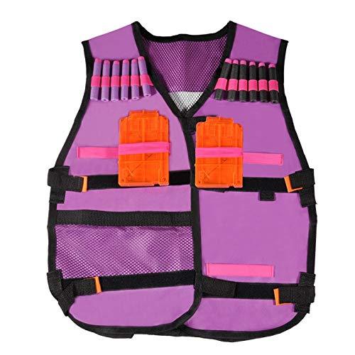 DAUERHAFT Clips Regalos Juguetes Ves Chaleco Regalos Juguetes Elite Chaleco Kit Púrpura para Buzz Bee Air para Pistolas de Espuma de Juguete o Arcos