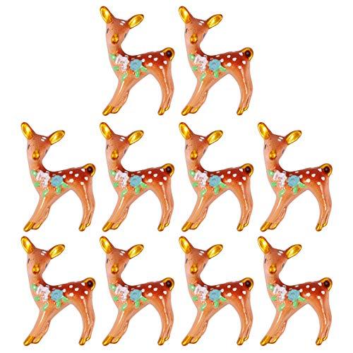Healifty 10pcs Reindeer Figurines Mini Resin Silk Deer Action Figure Fairy Garden Micro Elk Deer Dollhouse Bonsai Cottage Animal Landscape Decorations 4X3cm