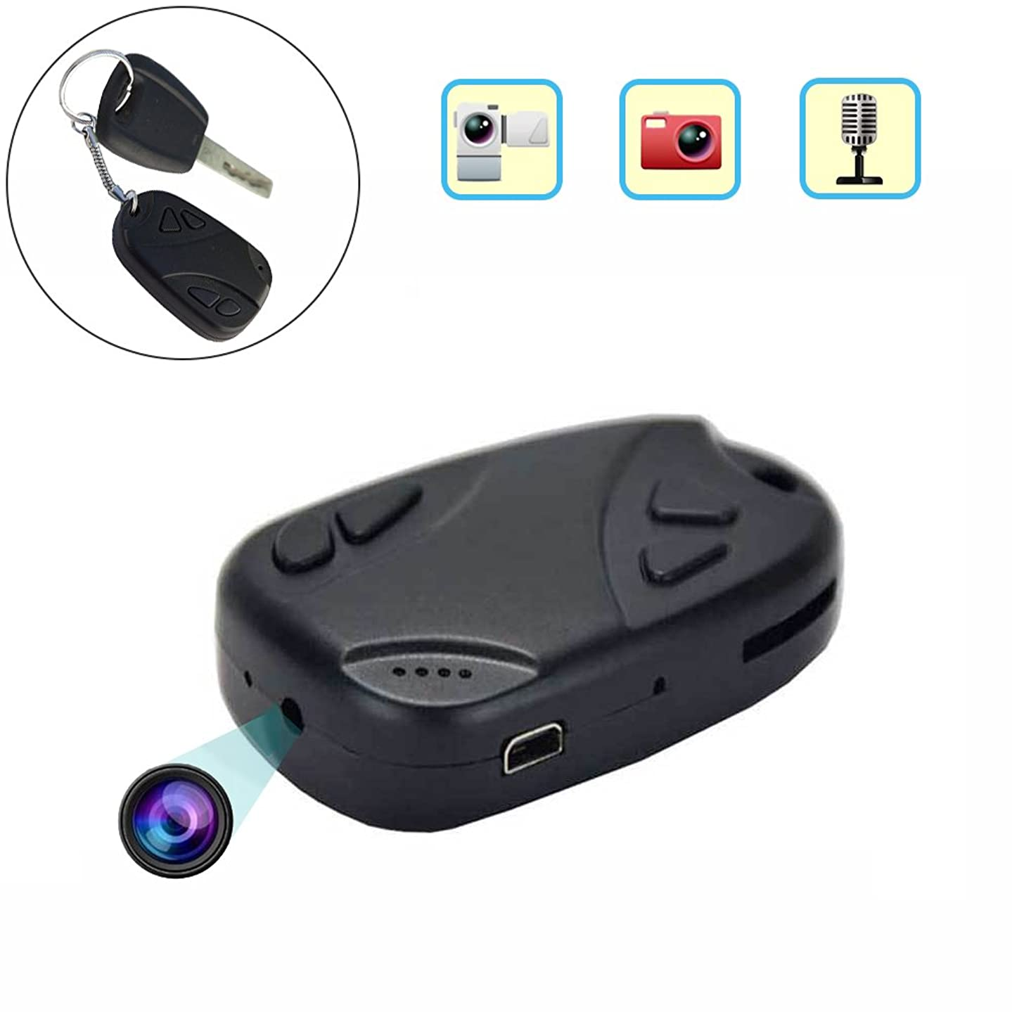 Cainda Hidden Spy Camera Keychain 480P, Portable Mini DV Cam for Recording and Noting, Micro Car Key Security Camera for Home and Office Surveillance