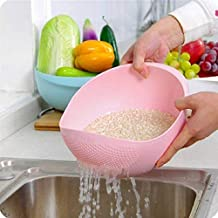 Dewberries® Plastic Rice Bowl Strainer, Washing Bowl for Fruits, Vegetables, Noodles, Pulses, Cereal, Rice (Color May Vary)