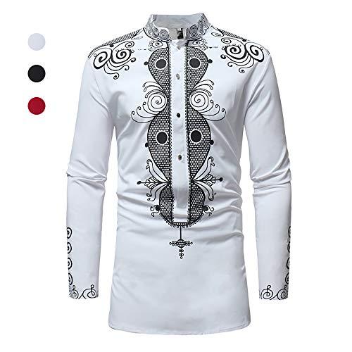 X&Armanis Langes Freizeithemd für Herren, Baumwoll-Mix Hemden mit Stehkragen Bedrucktes Hemd im afrikanischen Ethno-Stil,3,M