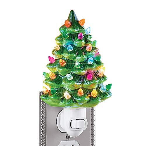 "Ceramic Christmas Tree Night Light - 6""H, Nostalgic, Decorative Bathroom Decoration, Green"