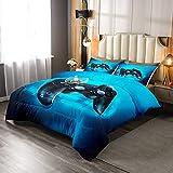 Erosebridal Gamer Schmusetuch für Kinder, Gamepad gesteppte Bettdecke für Jungen Jugendliche Erwachsene Spieler Gaming Geometrisches Dreieck Bettwäsche-Set Schlafzimmer Dekor, Blau