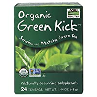 海外直送品Now Foods Green Kick Tea Bags, 24 each