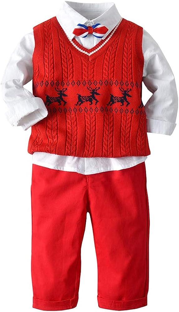 Xifamniy Baby Boy Christmas Outfits Deer Gentleman 3Pcs Shirt Sweater Suspender Pant Newborn Suit Set (Red, 3-4T)