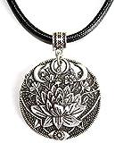 Collar Flor de Loto y Triple Luna - Regalo ideal para mujeres que practican Meditación y Yoga -...