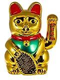 Out of the Blue 57/9738 - Goldene Winkekatze XXL aus Kunststoff, ca. 35 x 24 cm, traditioneller Glücksbringer aus Asien, batteriebetrieben, im Geschenkkarton