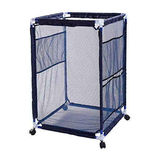 Snail Pool Mesh Storage Bin Rolling Poolside Storage Cart Container for Beach Balls, Floats, Swim Toys and Accessories Waterproof UV Resistant 24'x24'x36' Nylon Mesh Basket Organizer, Modern Blue